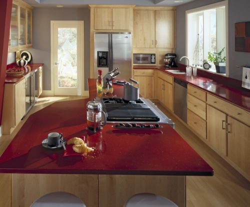 صفحه کابینت کورین،سنگ مصنوعی کورین،کورین رنگ قرمز