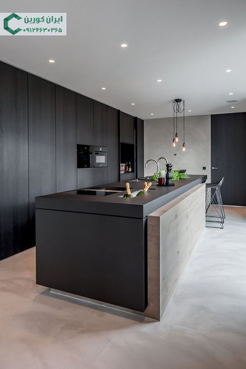 کورین رنگ تیره صفحه کابینت،کوارتز مشکی رگه دار جزیره آشپزخانه